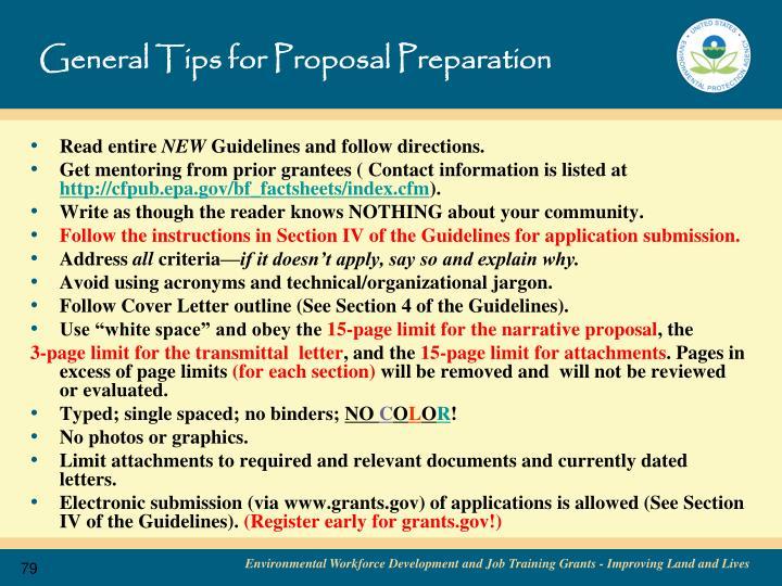General Tips for Proposal Preparation