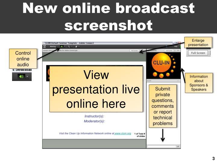 New online broadcast screenshot