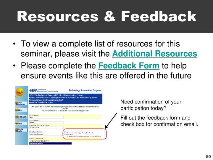 Resources & Feedback