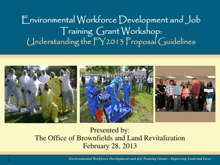 Environmental Workforce Development and Job Training  Grant Workshop: