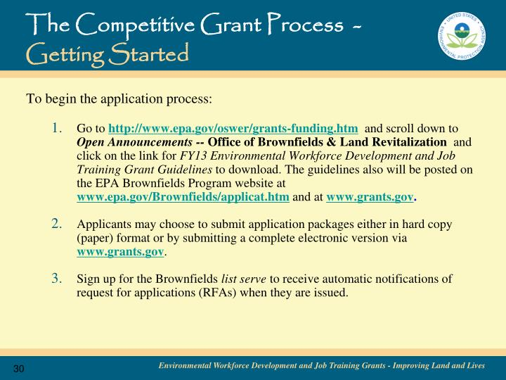 The Competitive Grant Process  -