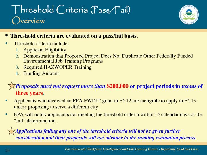Threshold Criteria