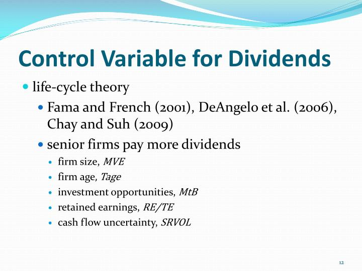 Control Variable for Dividends