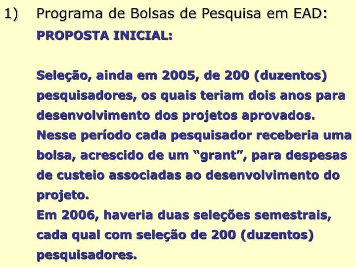 Programa de Bolsas de Pesquisa em EAD