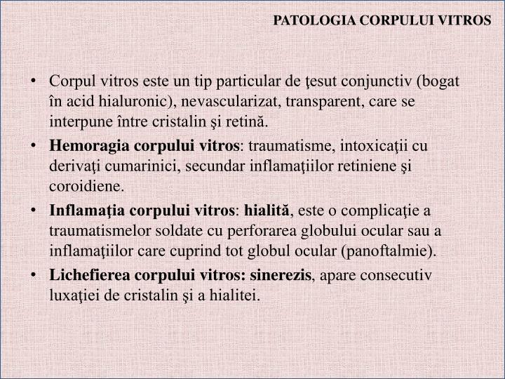 PATOLOGIA CORPULUI VITROS