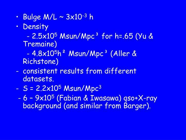 Bulge M/L ~ 3x10
