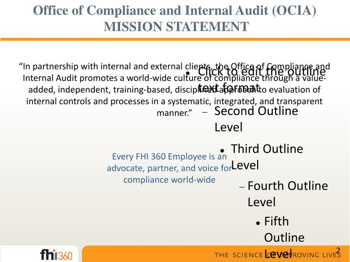Office of compliance and internal audit ocia mission statement