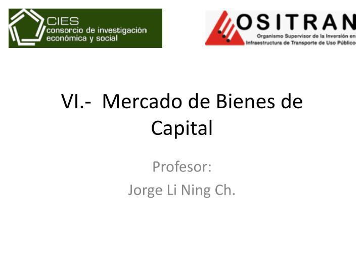 VI.-  Mercado de Bienes de Capital