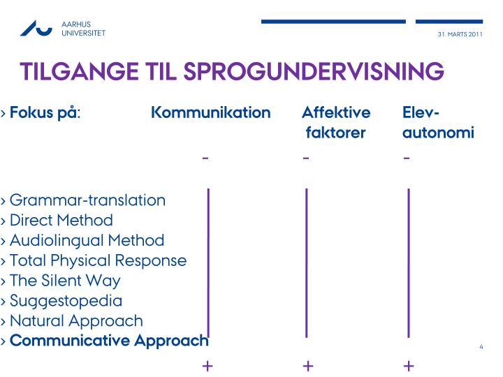 Tilgange til sprogundervisning