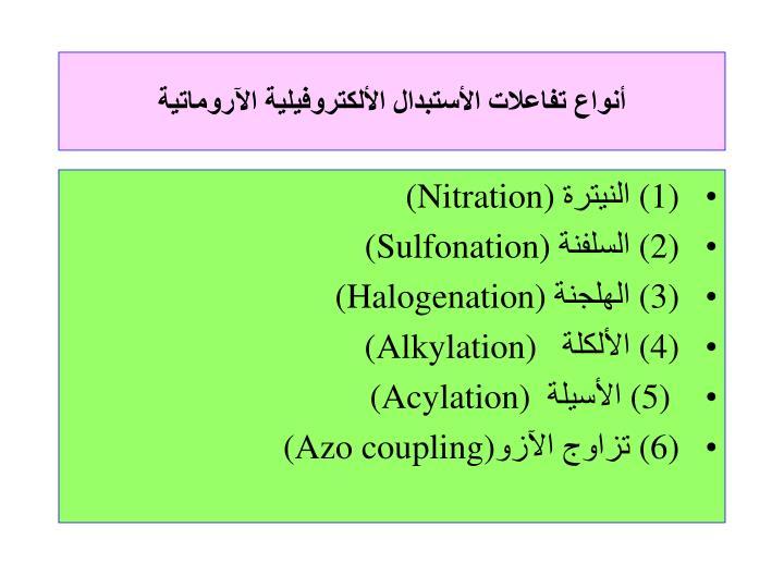 أنواع تفاعلات الأستبدال الألكتروفيلية الآروماتية