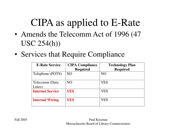 CIPA as applied to E-Rate