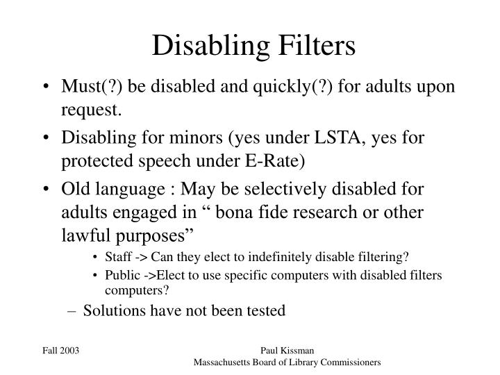 Disabling Filters