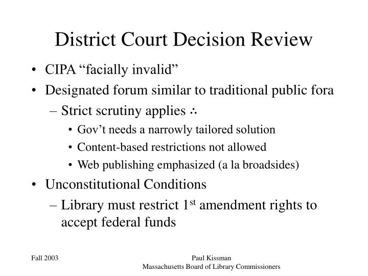 District Court Decision Review