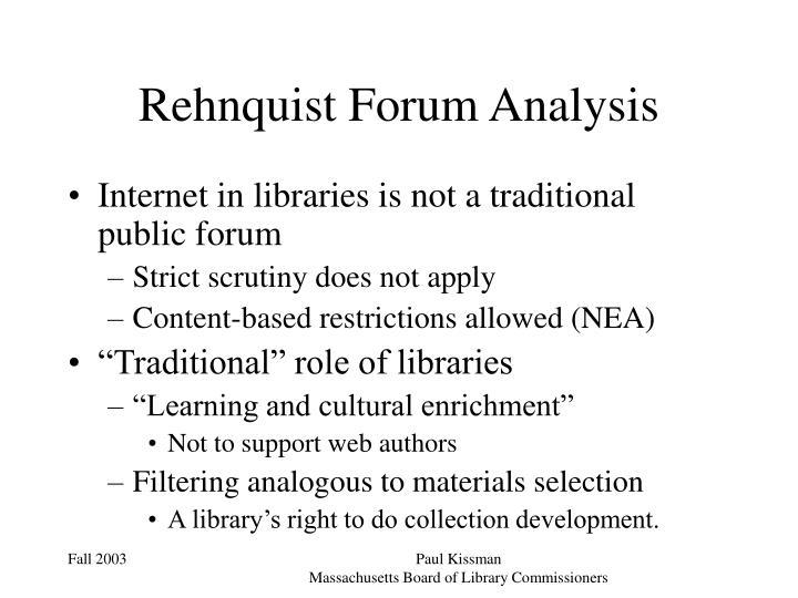 Rehnquist Forum Analysis