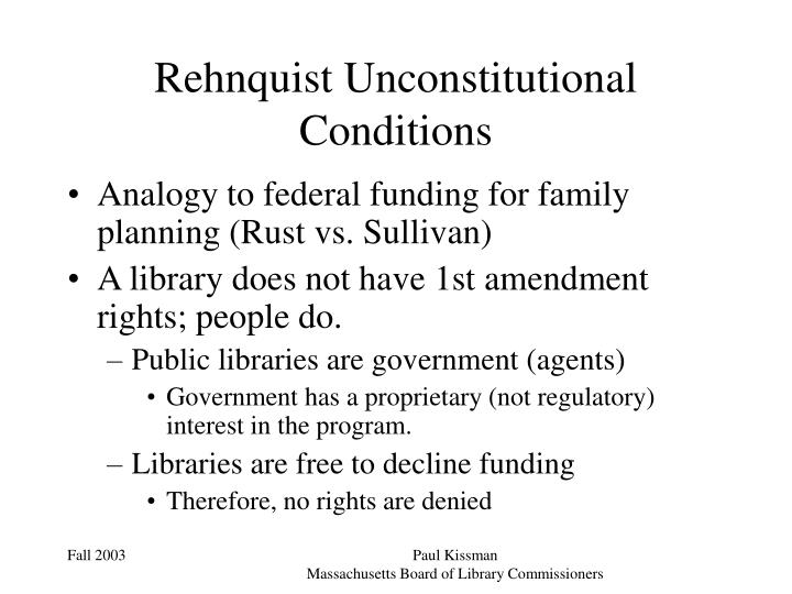 Rehnquist Unconstitutional Conditions
