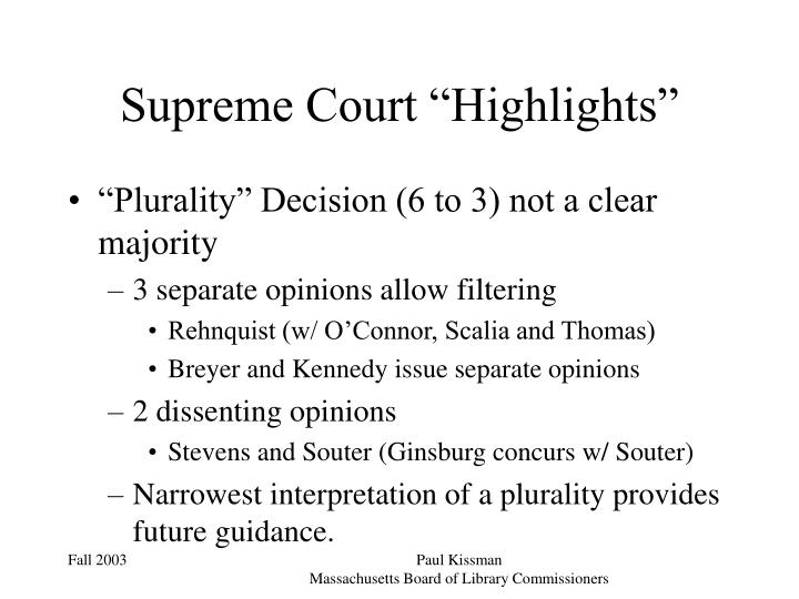 "Supreme Court ""Highlights"""