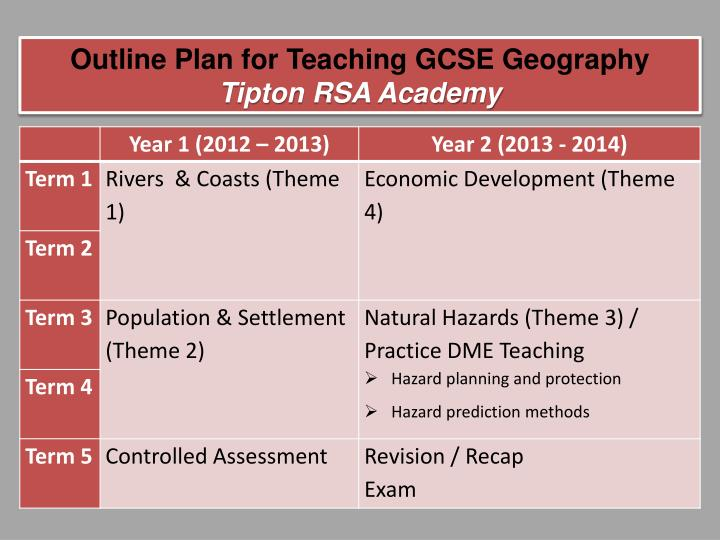 Outline Plan for Teaching GCSE Geography