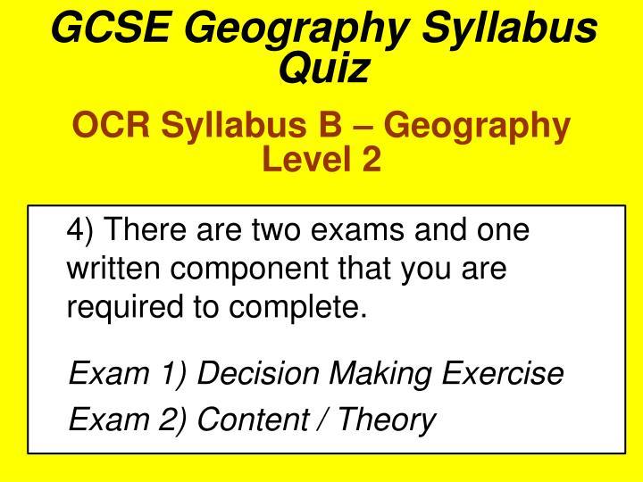 GCSE Geography Syllabus Quiz