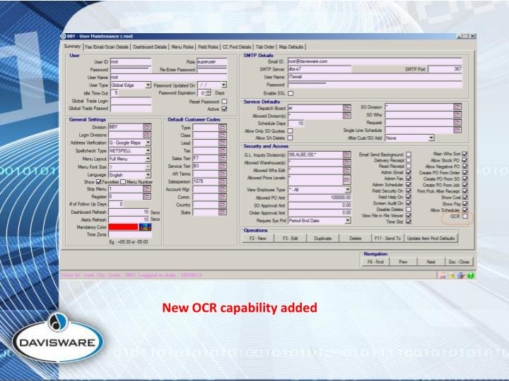 New OCR capability added