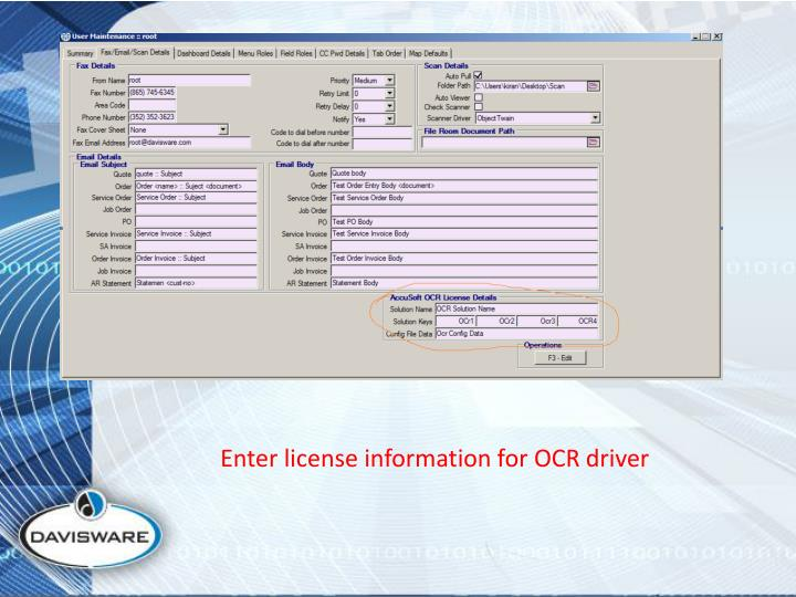 Enter license information for OCR driver