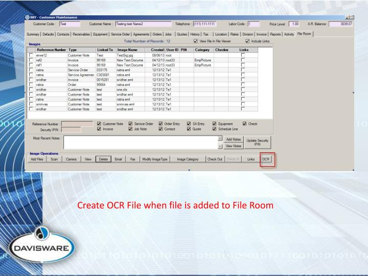 Create OCR File when file is added to File Room