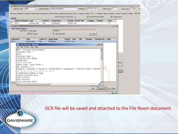 OCR file will be saved and attached to the File Room document