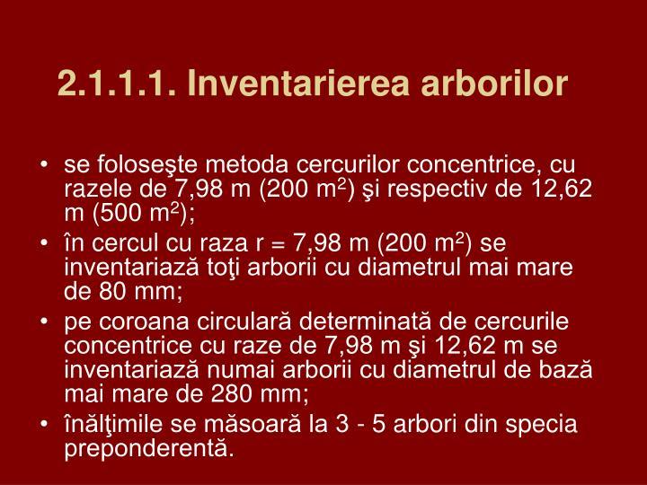 2.1.1.1. Inventarierea arborilor