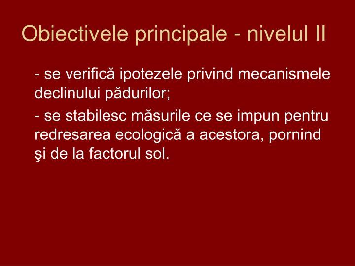 Obiectivele principale - nivelul II