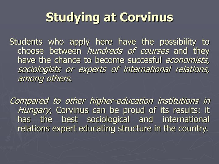 Studying at Corvinus
