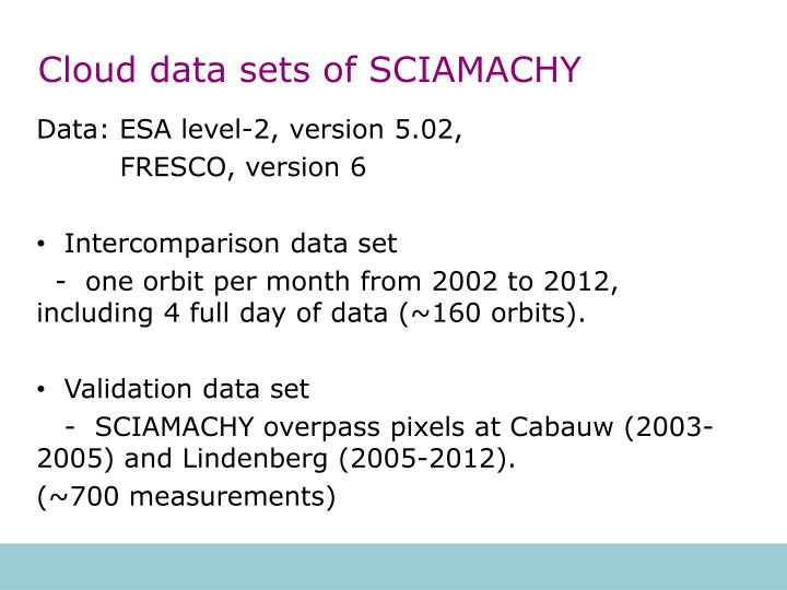 Cloud data sets of SCIAMACHY