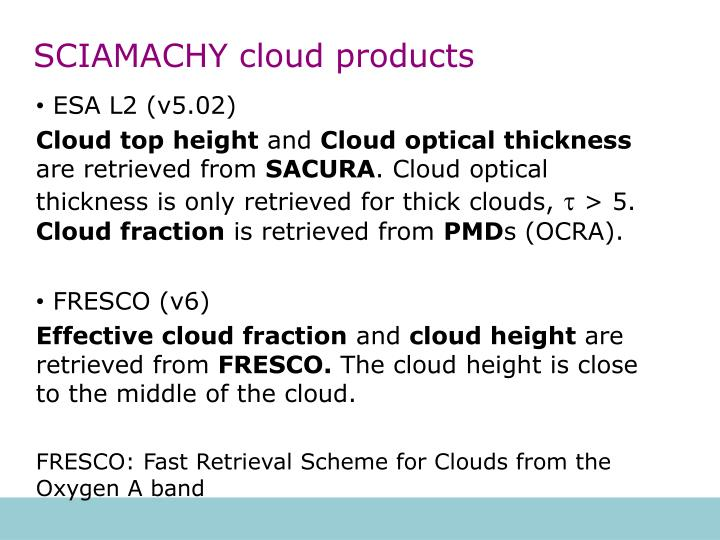 SCIAMACHY cloud products