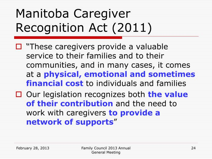 Manitoba Caregiver Recognition Act (2011)