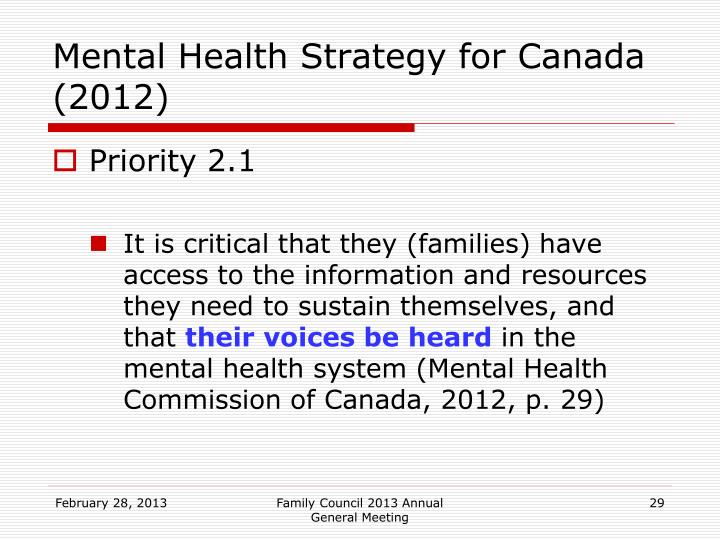 Mental Health Strategy for Canada (2012)