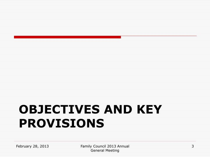Objectives and Key Provisions
