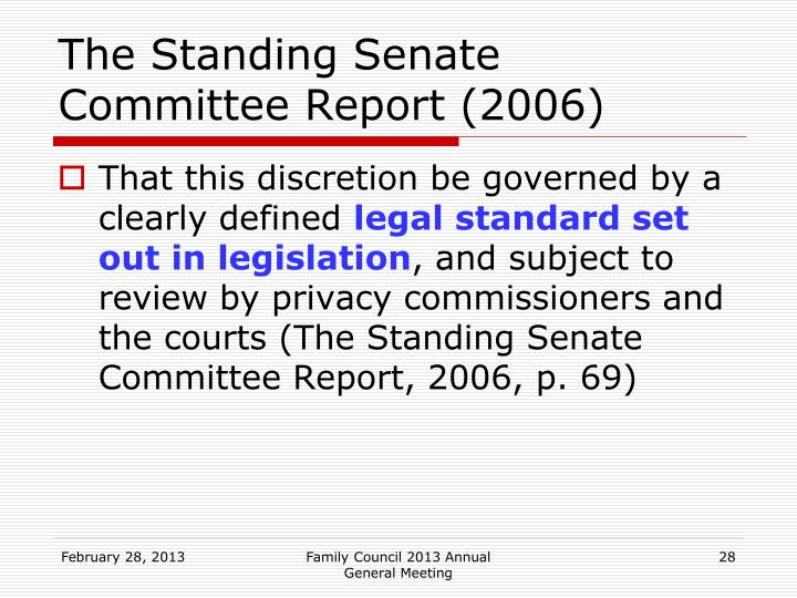 The Standing Senate Committee Report (2006)