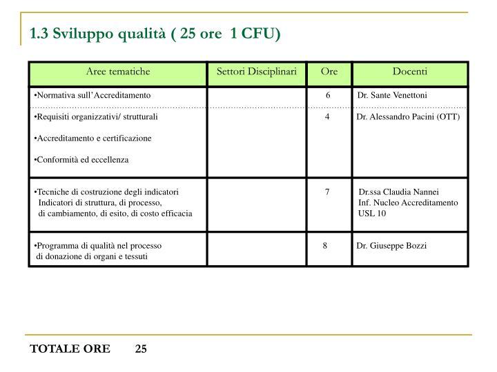 1.3 Sviluppo qualità ( 25 ore  1 CFU)