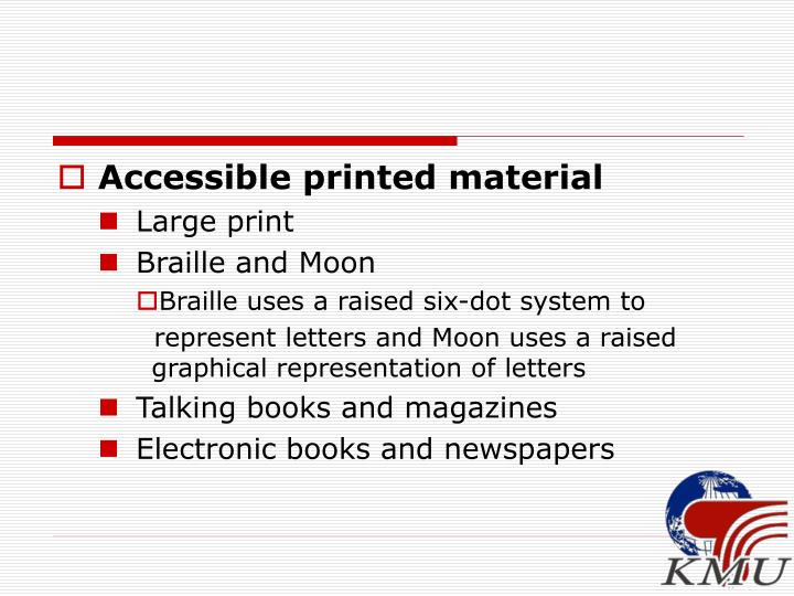 Accessible printed material
