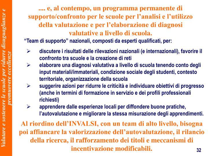 .... e, al contempo, un programma permanente di supporto/confronto per le scuole per lanalisi e lutilizzo della valutazione e per lelaborazione di diagnosi valutative a livello di scuola.