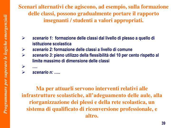 Scenari alternativi che agiscono, ad esempio, sulla formazione delle classi, possono gradualmente portare il rapporto insegnanti / studenti a valori appropriati.