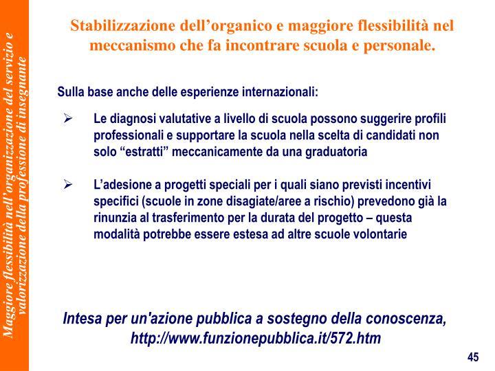 Stabilizzazione dellorganico e maggiore flessibilit nel meccanismo che fa incontrare scuola e personale.