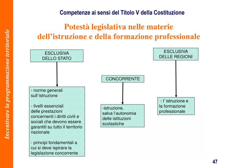 Competenze ai sensi del Titolo V della Costituzione