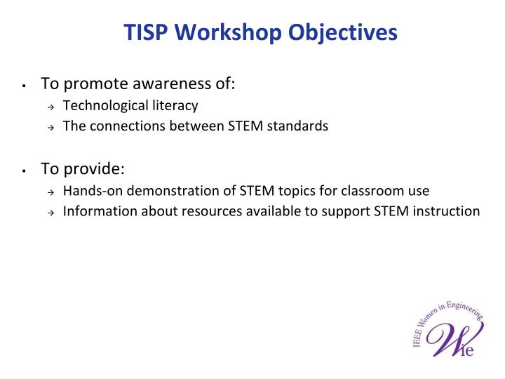 TISP Workshop Objectives