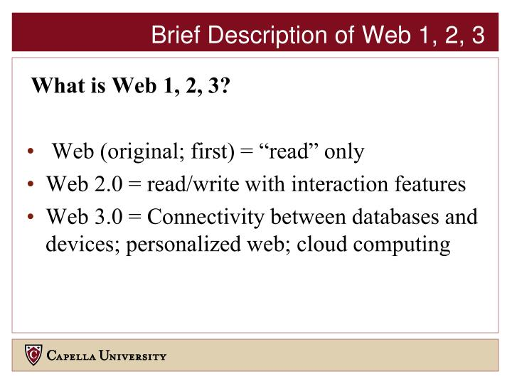 Brief Description of Web 1, 2, 3