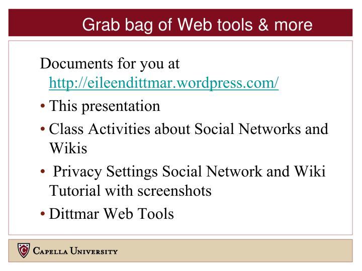 Grab bag of Web tools & more
