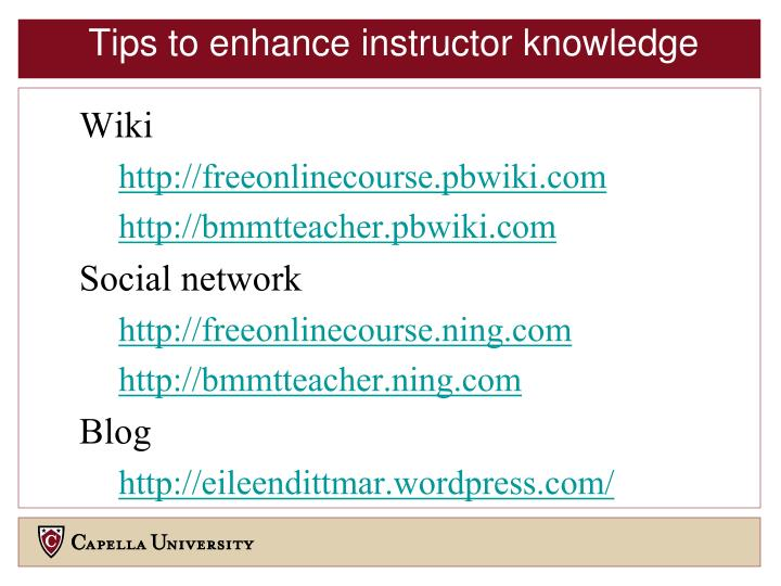 Tips to enhance instructor knowledge