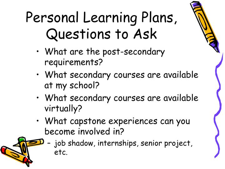 Personal Learning Plans, Questions to Ask