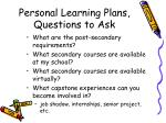 personal learning plans questions to ask