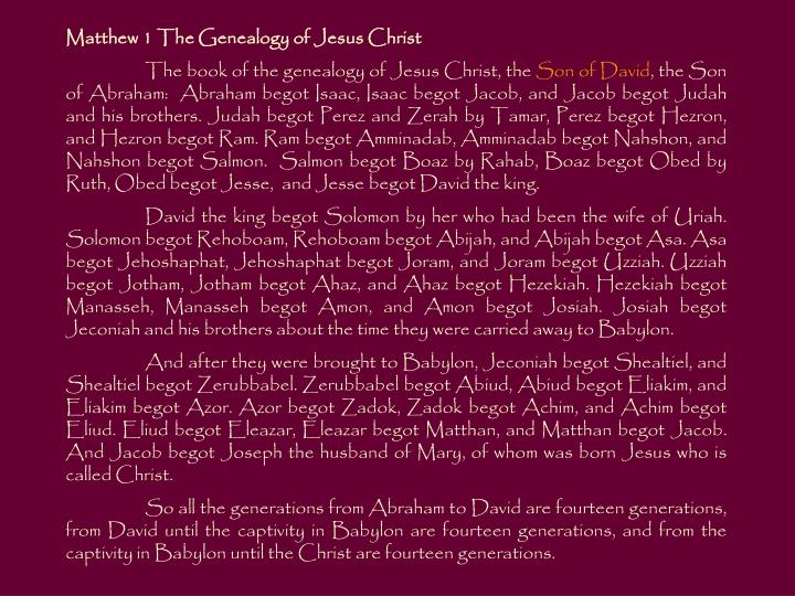 Matthew 1 The Genealogy of Jesus Christ