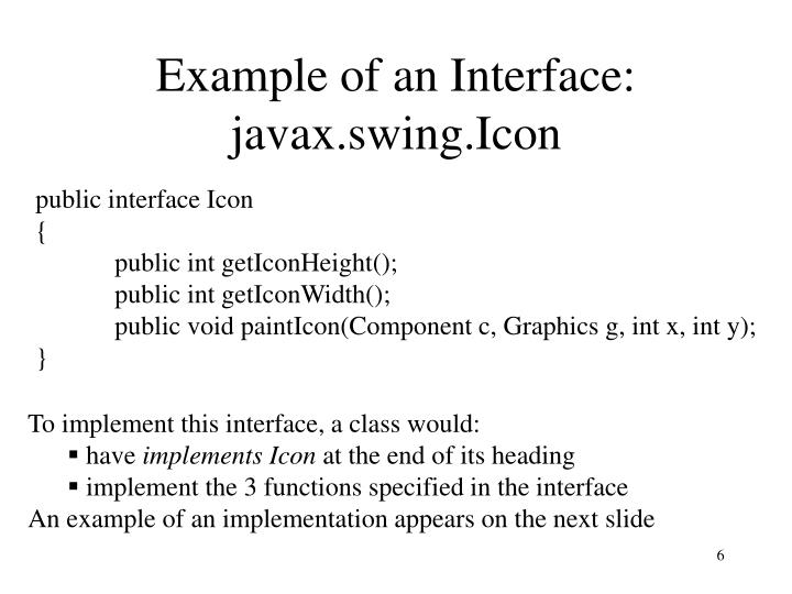 Example of an Interface: javax.swing.Icon