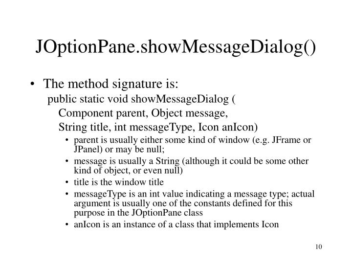 JOptionPane.showMessageDialog()